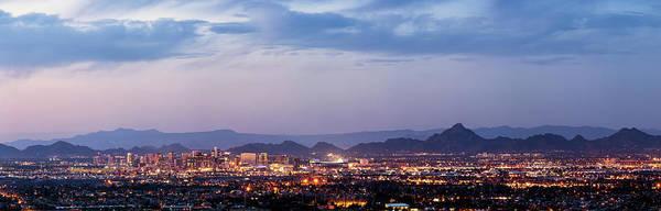 Maricopa Photograph - Phoenix And Scottsdale Dusk Panorama by Picturelake