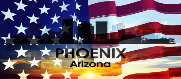 Mixed Media - Phoenix Az Patriotic Large Cityscape by Angelina Tamez