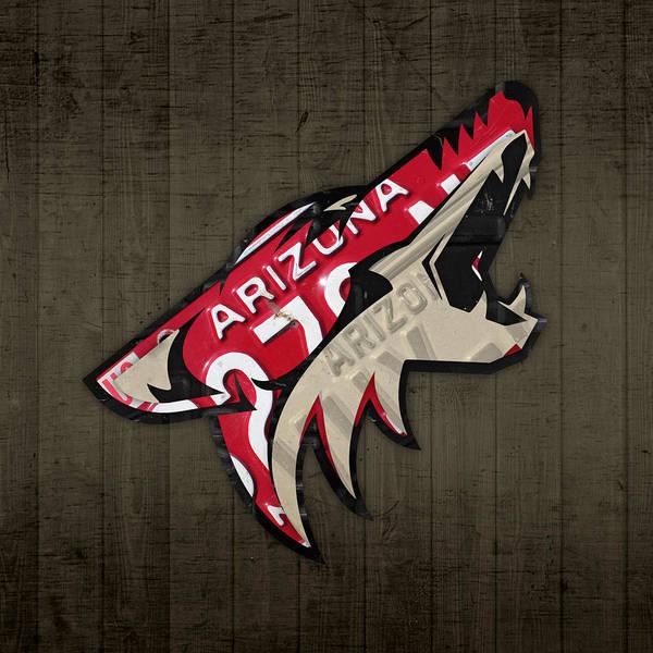 Wall Art - Mixed Media - Phoenix Coyotes Retro Hockey Team Logo Recycled Arizona License Plate Art by Design Turnpike