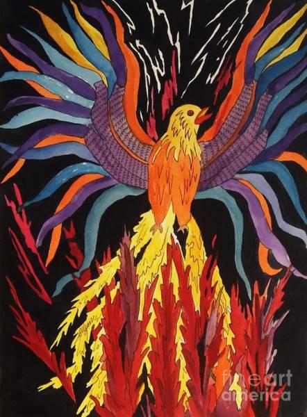 Reborn Wall Art - Painting - Phoenix Rising by Ellen Levinson