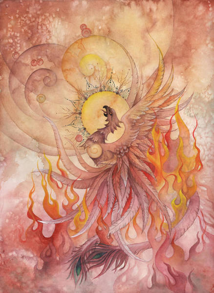 Heal Wall Art - Painting - Phoenix Rising by Ellen Starr