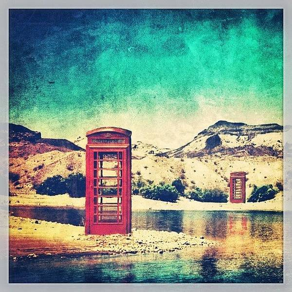 Sunny Photograph - #phone #telephone #box #booth #desert by Jill Battaglia