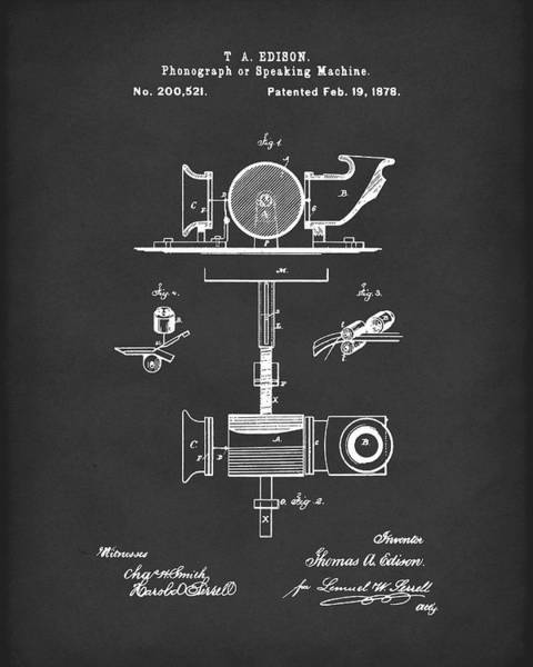 Drawing - Phonograph 1878 Patent Art Black by Prior Art Design