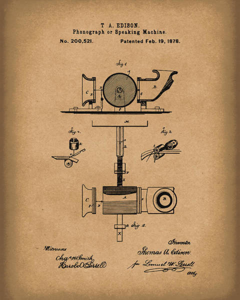 Drawing - Phonograph 1878 Patent Art Brown by Prior Art Design