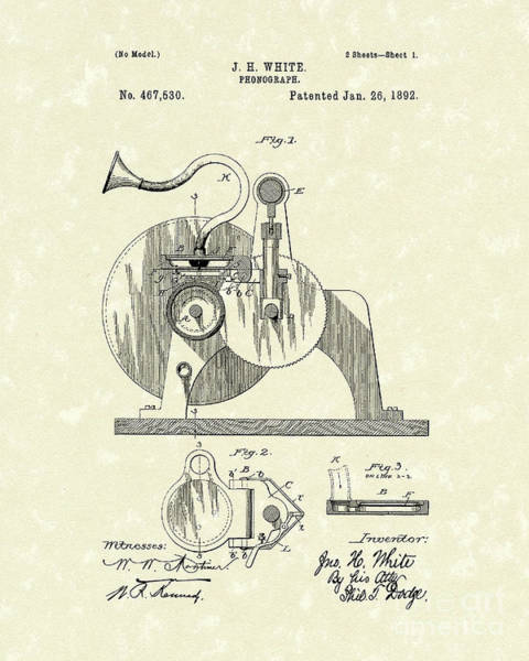 Drawing - Phonograph 1892 Patent Art by Prior Art Design