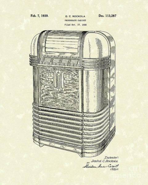 Cabinet Photograph - Phonograph Cabinet 1939 Patent Art by Prior Art Design