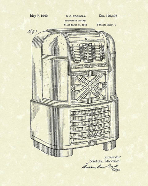 Drawing - Phonograph Cabinet 1940 Patent Art by Prior Art Design