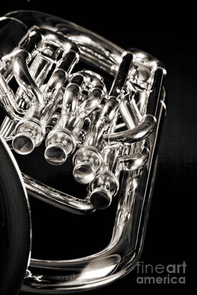 Wall Art - Photograph - Photograph Of A Music Tuba Brass Instrument In Sepia 3284.01 by M K Miller