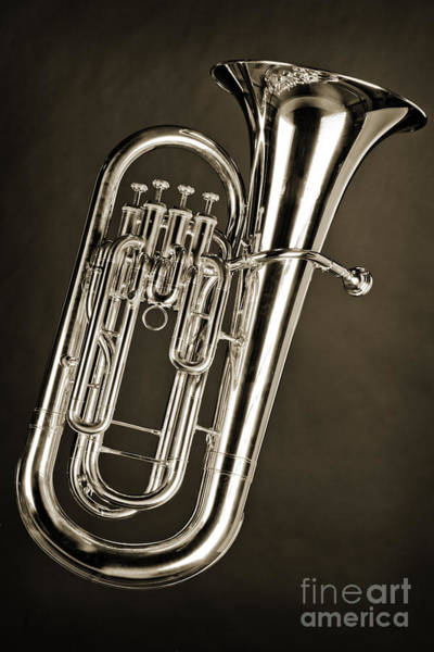 Photograph - Photograph Of A Tuba Brass Music Instrument In Sepia 3280.01 by M K Miller