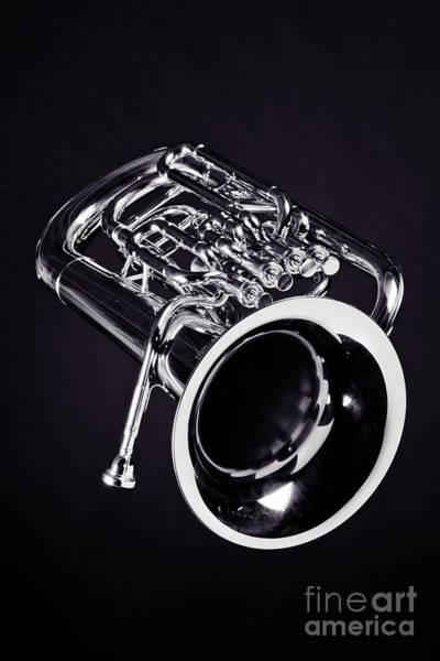 Wall Art - Photograph - Photograph Of Bass Tuba Brass Instrument In Sepia 3393.01 by M K Miller