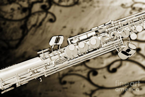 Photograph - Photograph Of Classic Soprano Saxophone Sepia 3349.01 by M K Miller