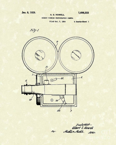 Drawing - Photographic Camera 1929 Patent Art by Prior Art Design