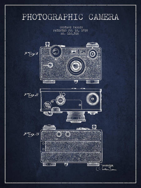 Lens Digital Art - Photographic Camera Patent Drawing From 1938 by Aged Pixel