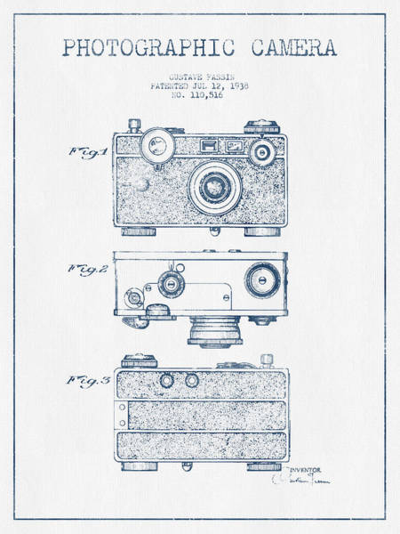 Lens Digital Art - Photographic Camera Patent Drawing From 1938- Blue Ink by Aged Pixel