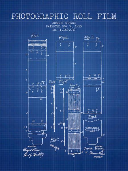 Wall Art - Digital Art - Photographic Roll Film Patent From 1915 - Blueprint by Aged Pixel