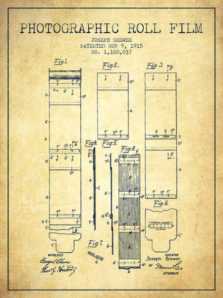 Wall Art - Digital Art - Photographic Roll Film Patent From 1915 - Vintage by Aged Pixel