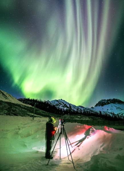 Wind River Range Wall Art - Photograph - Photographing The Aurora In Alaska by Chris Madeley/science Photo Library