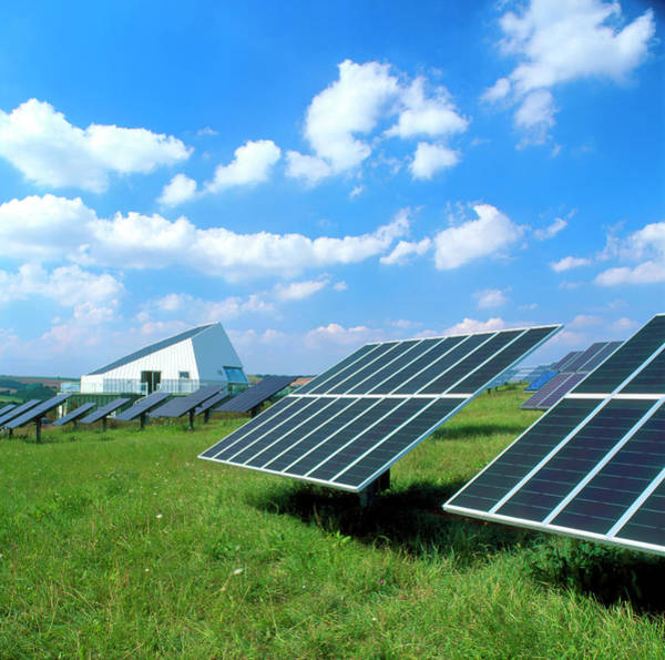Solar Panels Photograph - Photovoltaic Panels At A Solar Power Station by Martin Bond/science Photo Library