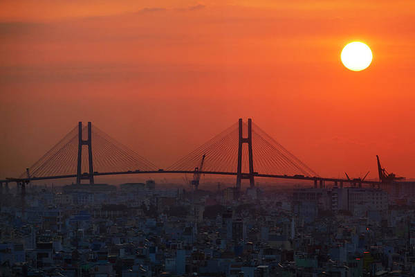 Cable-stayed Bridge Photograph - Phu My Bridge At Sunrise, Ho Chi Minh by David Wall