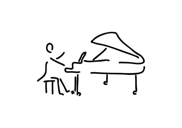 Lineart Drawing - Pianist Musician Plays The Piano by Lineamentum