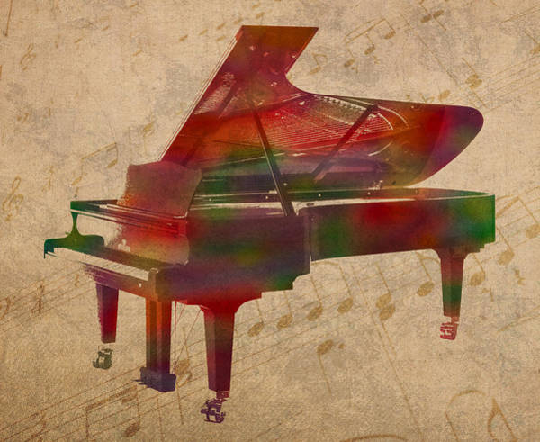 Background Mixed Media - Piano Instrument Watercolor Portrait With Sheet Music Background On Worn Canvas by Design Turnpike