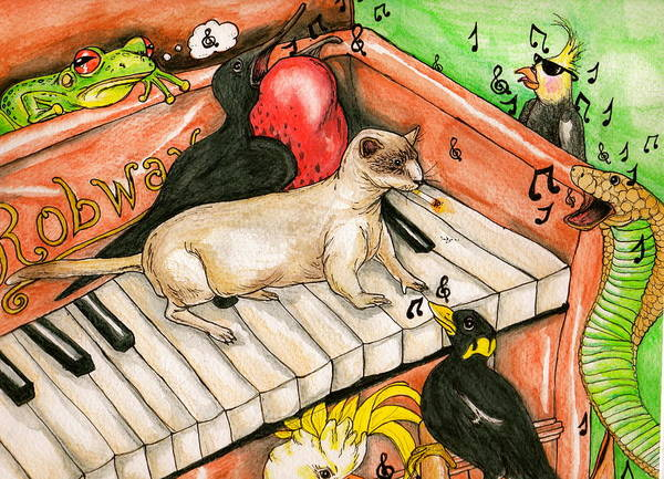 Ferrets Drawing - Piano Sing Along by Julie McDoniel