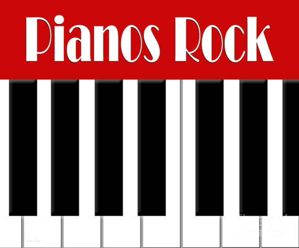 Digital Art - Pianos Rock In Red 2 by Andee Design