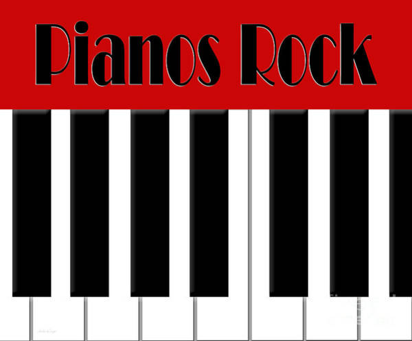 Digital Art - Pianos Rock In Red by Andee Design