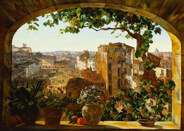 Window Frame Painting - Piazza Barberini In Rome by Karl von Bergen