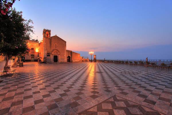 Sicily Photograph - Piazza Ix Aprile In Taormina At Sunrise by Massimo Pizzotti