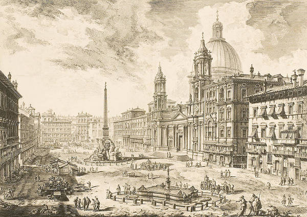 Etching Wall Art - Drawing - Piazza Navona by Giovanni Battista Piranesi