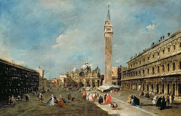 Clock Tower Painting - Piazza San Marco, Venice by Francesco Guardi