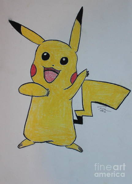 Pokemon Drawing - Picachu by Caitlin Fielding