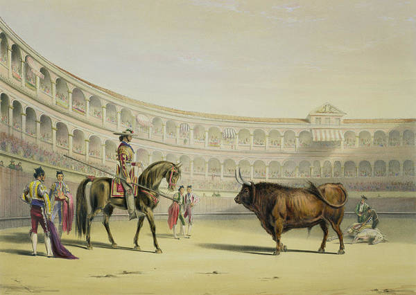 Matador Wall Art - Drawing - Picador Challenging The Bull, 1865 by William Henry Lake Price