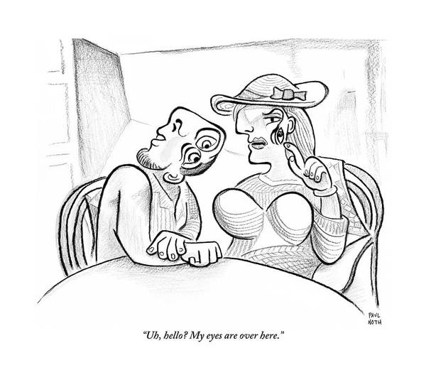 Eye Drawing - Picasso-esque Woman Speaks To Picasso-esque Man by Paul Noth