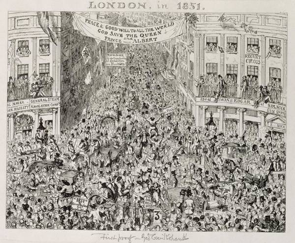 Traffic Painting - Piccadilly During The Great Exhibition by George Cruikshank