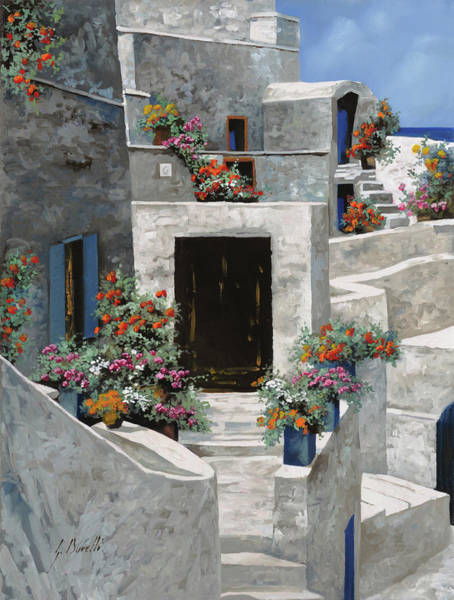 School Painting - piccole case bianche di Grecia by Guido Borelli