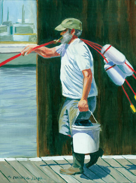 Mooring Painting - Pickin' Up Sticks by Marguerite Chadwick-Juner