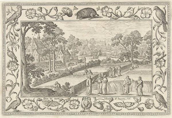 Land Mark Drawing - Picking Corn On The Sabbath, Adriaen Collaert by Adriaen Collaert And Eduwart Hoes Winckel