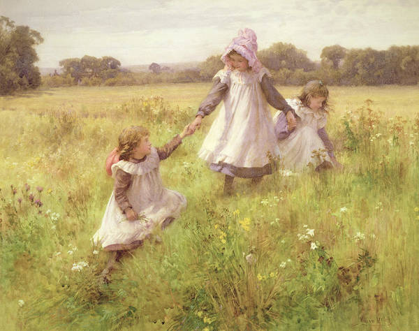 Three Sisters Wall Art - Painting - Picking Wild Flowers by William Affleck