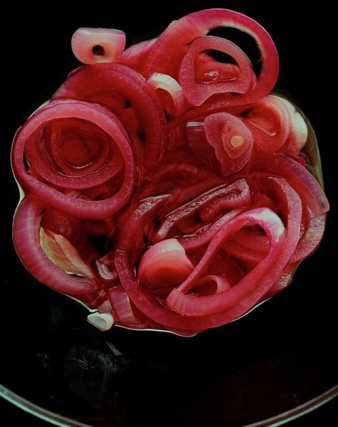 Vegetable Photograph - Pickled Red Onions by Romulo Yanes