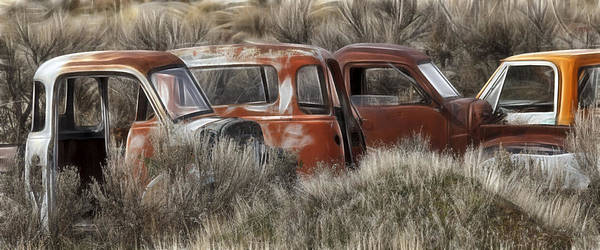 Wrecking Yard Photograph - Pickup Cabs 1 by Wes and Dotty Weber