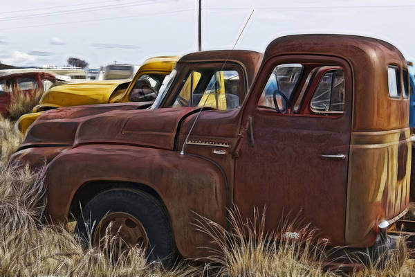 Wrecking Yard Photograph - Pickup Cabs 2 by Wes and Dotty Weber