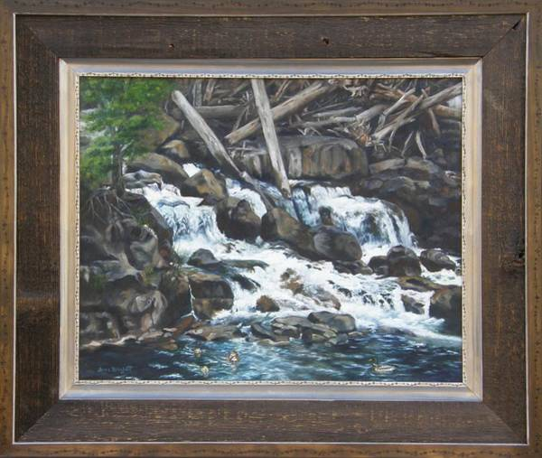 Painting - Picnic At The Falls Framed by Lori Brackett