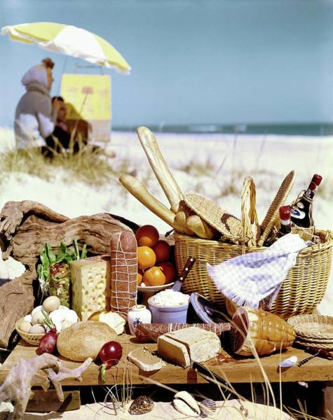 Meat Photograph - Picnic Display On The Beach by Stan Young