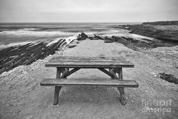 Montana State Photograph - Picnic - Lone Table Overlooking The Ocean In Montana De Oro State Park In Caliornia by Jamie Pham