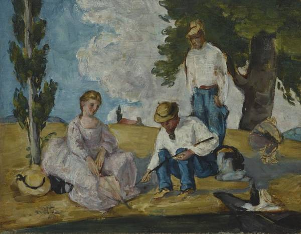 Riverbank Painting - Picnic On A Riverbank, 1873-74 by Paul Cezanne