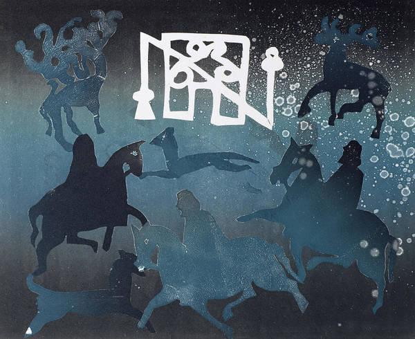 Horseman Wall Art - Photograph - Pictish Hunting Scene I, 1995 Monotype by Gloria Wallington