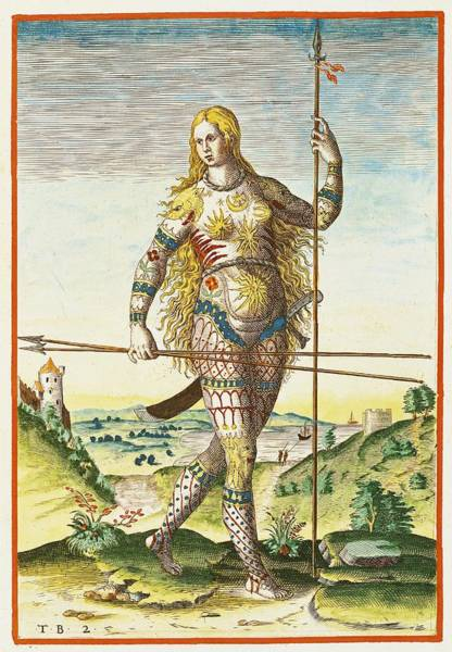 Wall Art - Photograph - Pictish Woman, From Admiranda Narratio..., Engraved By Theodore De Bry 1528-98 1585-88 Coloured by John White