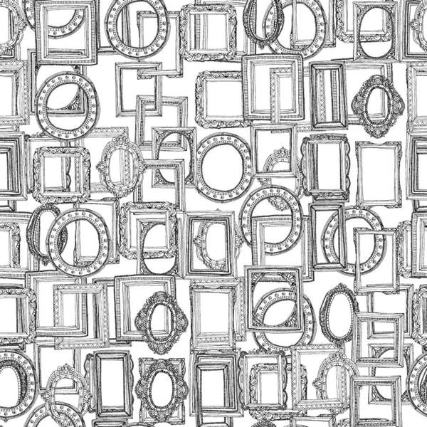 Wall Art - Drawing - Picture Frames Aplenty Black White by MGL Meiklejohn Graphics Licensing